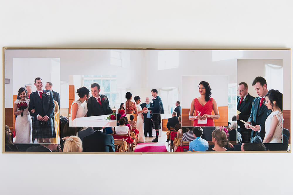 Double page spread layout showing wedding ceremony. Photographed at Lanarkshire wedding venue New Lanark Mill Hotel by wedding photographer Richard Campbell