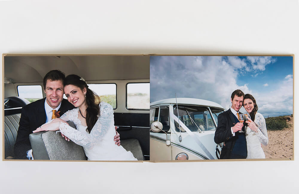 Wedding album showing contemporary edge to edge printing. Shot at Ayr beach by wedding photographer Richard Campbell.