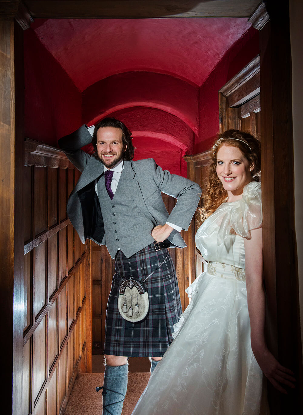 Soon Castle has lots of possibilities for wedding photography. This narrow corridor is ideal for relaxed portraits. Photography by Ayrshire Wedding Photographer Richard Campbell