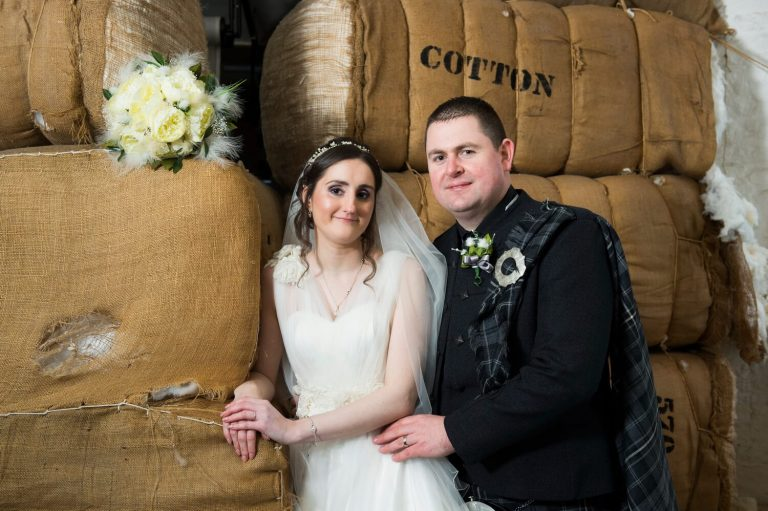 Wedding Photography of Bride and Groom at New Lanark