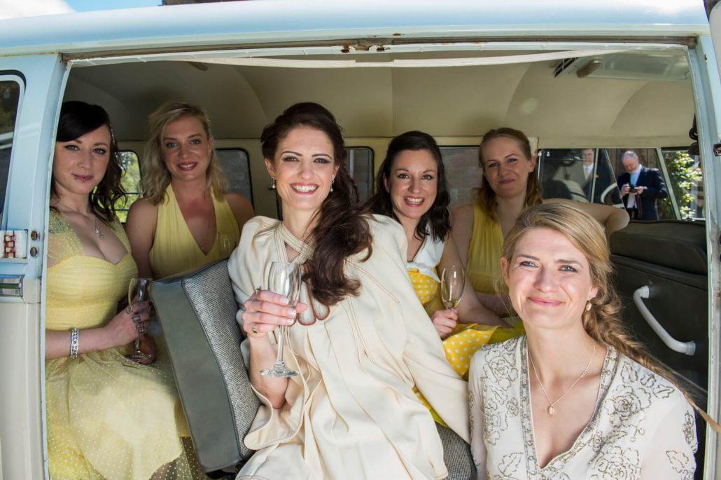 Bride and Bridesmaids in VW Campervan