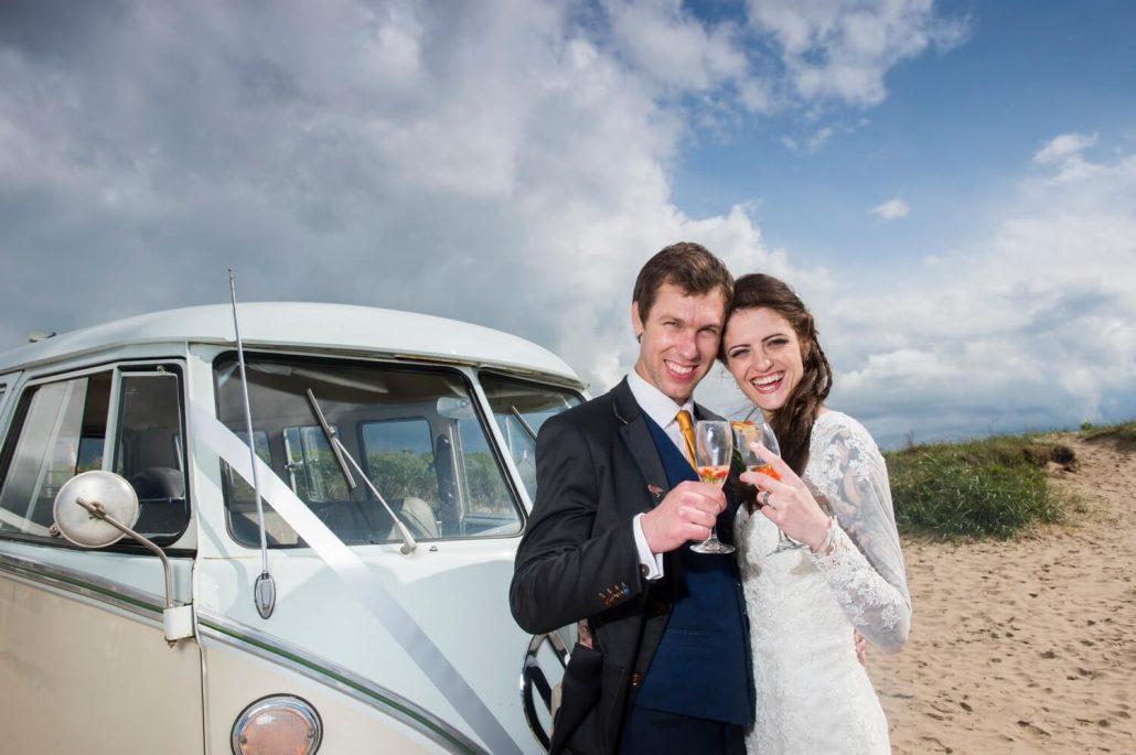 Bride and Groom with VW Campervan on Ayr Beach