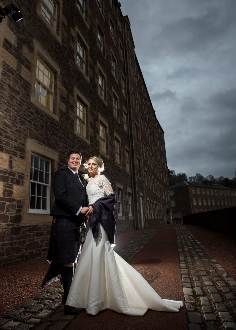 Classic Portrait of Bride and Groom at new Lanark Mill Hotel