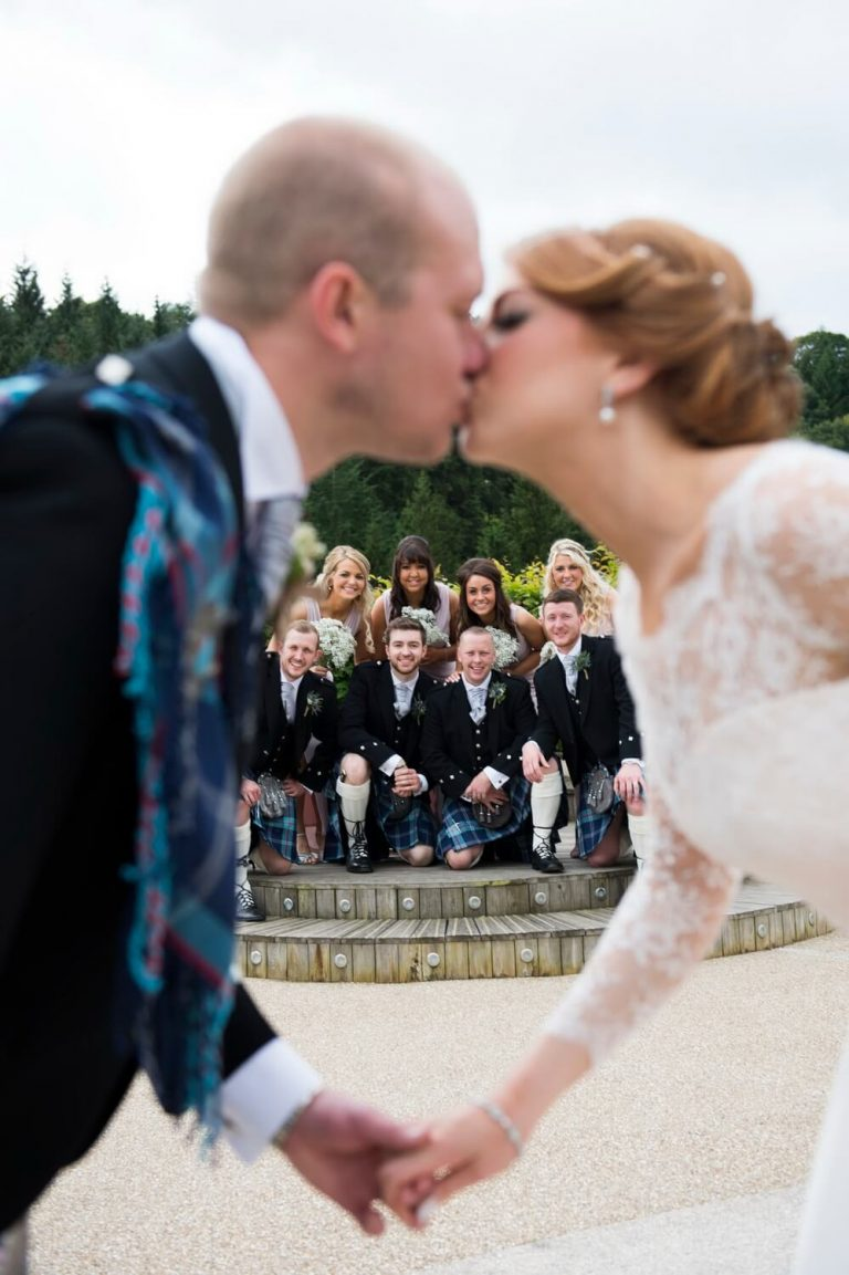 Creative Wedding Photography of Bride and Groom with Bridesmaids and Best Men