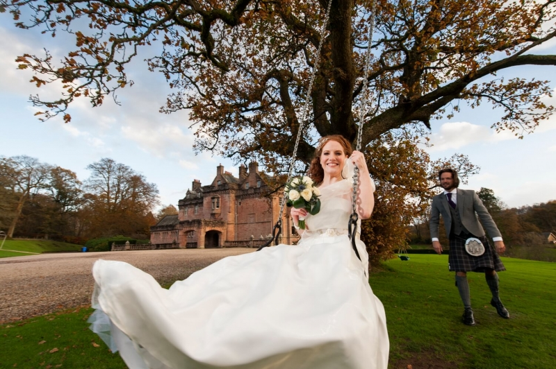 Fun Photography of Bride on Swing at Sorn Castle Ayrshire