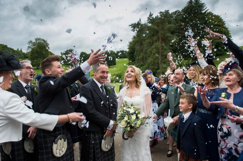 Photography of Confetti at Blairquhan Castle Ayrshire