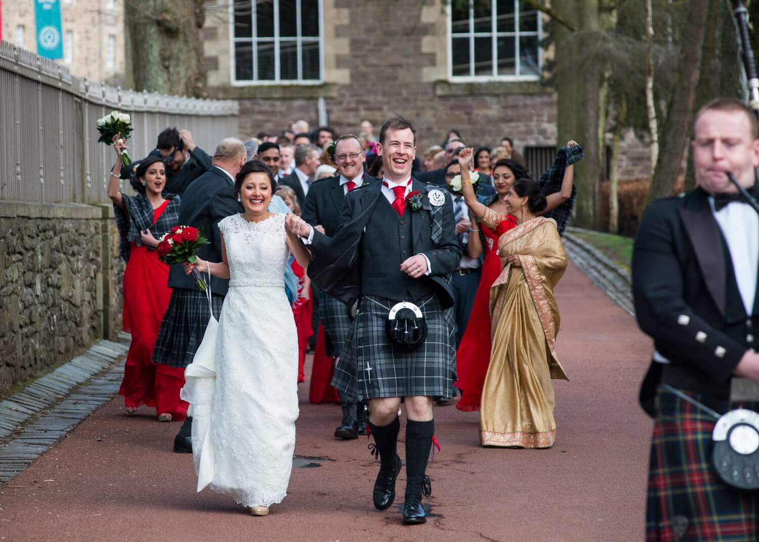 Photography of Wedding Procession at New Lanark