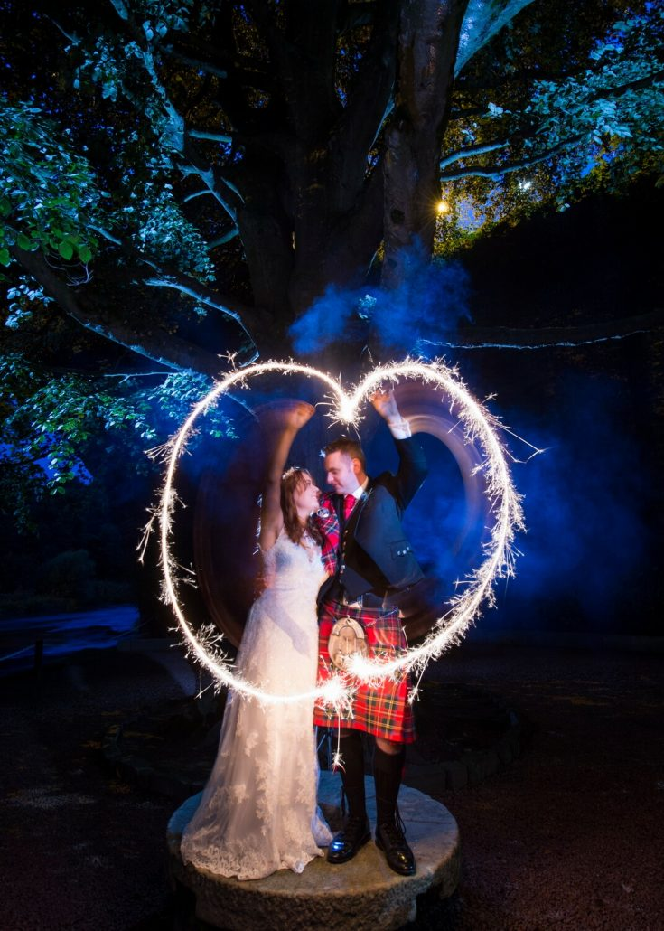 Wedding Photography showing Couple with Sparklers at Brig O Doon Hotel Ayrshire